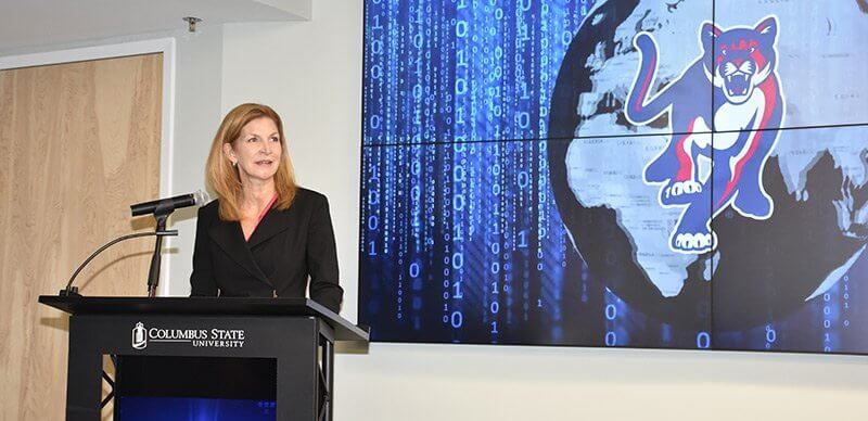 Patty Watson speaks at the opening of the TSYS Center for Cybersecurity at Columbus State University.