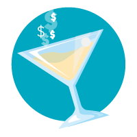 Icon of a martini glass with dollar signs coming out of the top